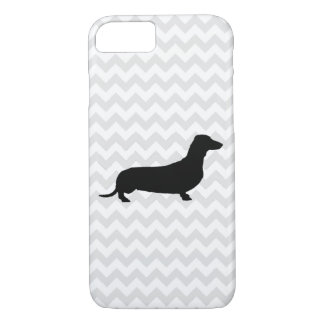 Pick Your Color Chevron Dachshund Silhouette iPhone 8/7 Case
