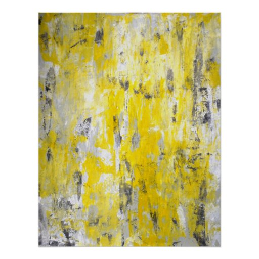 'Picking Around' Grey and Yellow Abstract Art Poster