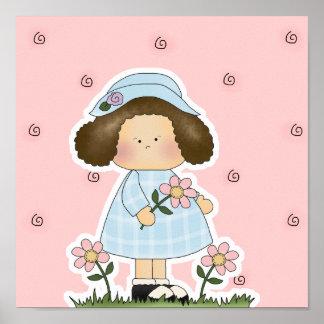 Picking Daisies Cute Flower Spring Girl Print