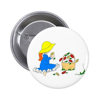 Picking Flowers Pinback Buttons