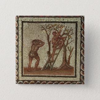 Picking Fruit, Roman Mosaic 15 Cm Square Badge