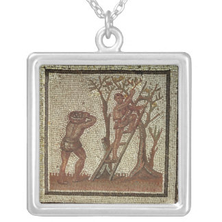 Picking Fruit, Roman Mosaic Silver Plated Necklace
