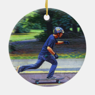 Picking Up Speed  -  Skateboarder Round Ceramic Decoration