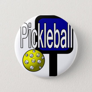 Pickle and ball graphic with paddle and ball 6 cm round badge