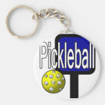 Pickle and ball graphic with paddle and ball keychain