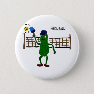 Pickle Playing Pickleball Primitive Art 6 Cm Round Badge