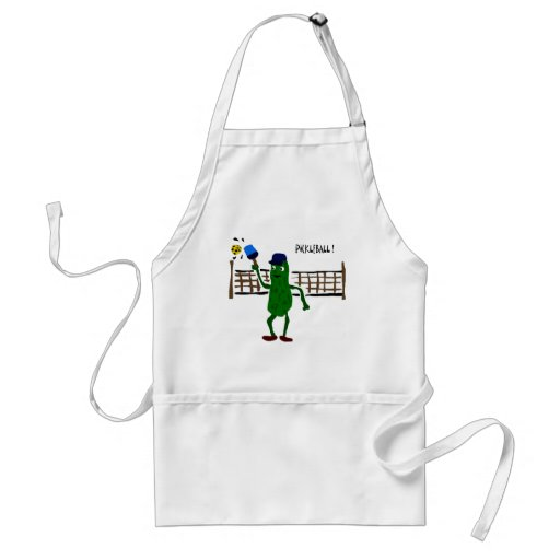 Pickle Playing Pickleball Primitive Art Apron