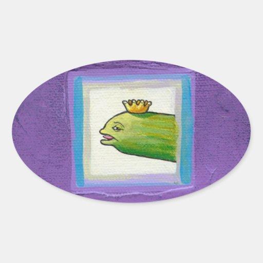 Pickle poet eel king weird unique fun original art oval stickers