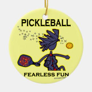 Pickleball Fearless Fun Round Ceramic Decoration
