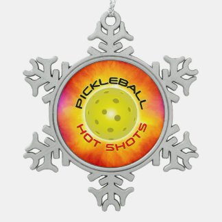 Pickleball Hot Shots 1 Pewter Snowflake Ornament