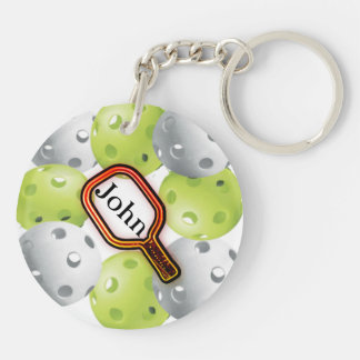 Pickleball Keychain/front/back - with name Double-Sided Round Acrylic Key Ring