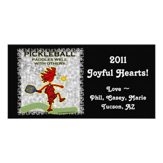 Pickleball Paddles Well With Others Personalized Photo Card