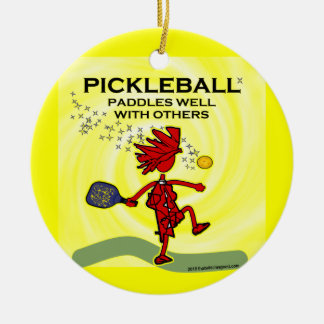 Pickleball Paddles Well With Others Round Ceramic Decoration