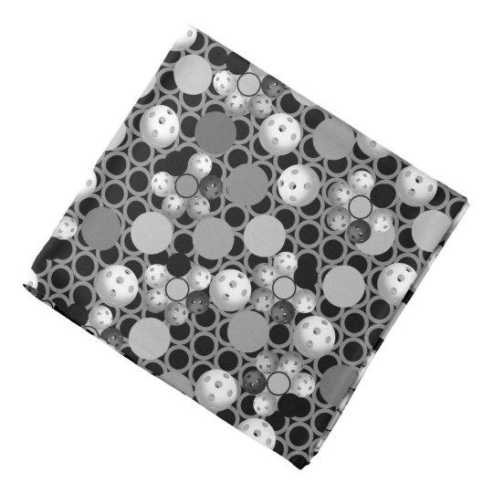 Pickleball Pattern, Black and White Bandana