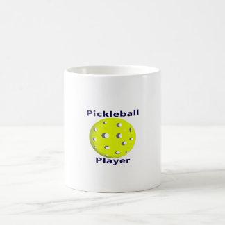 Pickleball Player Blue Text Yellow Ball Design Mugs