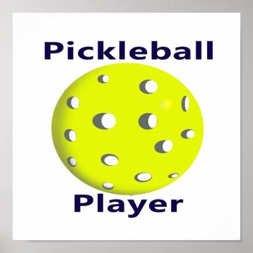 Pickleball Player Blue Text Yellow Ball Design Poster