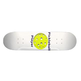 Pickleball Player Blue Text Yellow Ball Design Skateboards