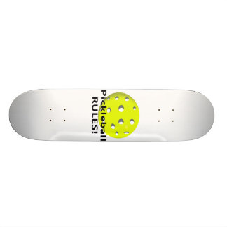 Pickleball Rules! With yellow ball black text Skate Deck