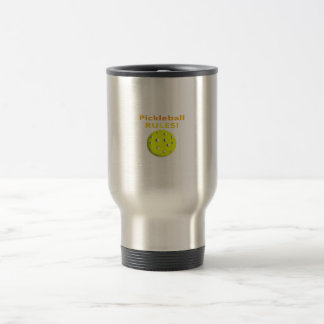 Pickleball Rules! With yellow ball yellow text Coffee Mugs