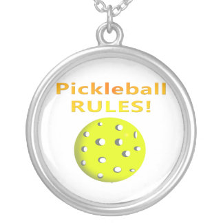 Pickleball Rules With yellow ball yellow text Pendants