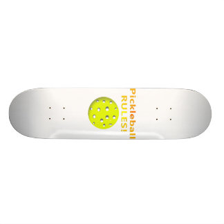 Pickleball Rules With yellow ball yellow text Skateboard Deck