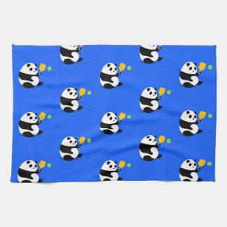 Pickleball Sports Towel: Pickleball Panda Pattern Tea Towel