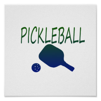 pickleball w paddle and ball blue to green poster