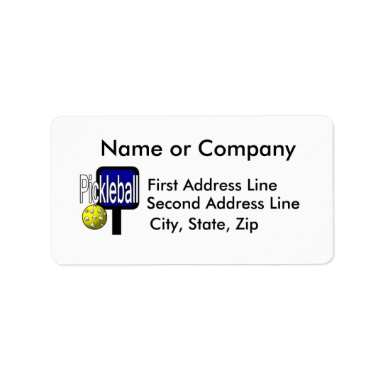 Pickleball, with ball and paddle design picture address label