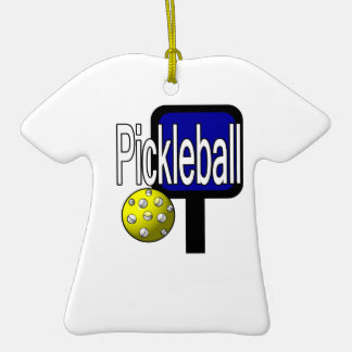 Pickleball with ball and paddle design picture christmas tree ornament