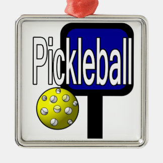 Pickleball, with ball and paddle design picture Silver-Colored square decoration