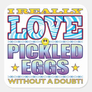 Pickled Eggs Love Face Square Sticker