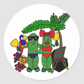 Pickles in Paradise Round Sticker