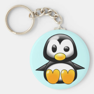 Pickles the Cute Baby Penguin Cartoon Key Ring