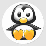 Pickles the Cute Baby Penguin Cartoon Round Stickers