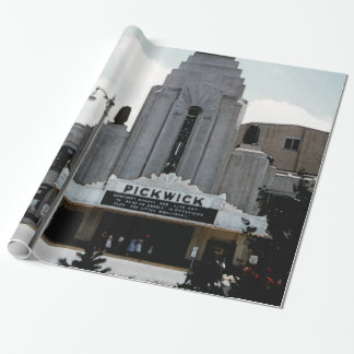 Pickwick Movie Theatre Park Ridge Watercolor Art Wrapping Paper