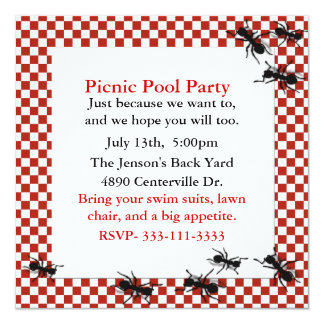 Picnic Ants Party Invitation