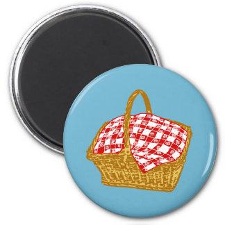 Picnic Basket 6 Cm Round Magnet