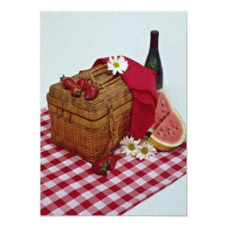 Picnic basket and watermelon slices 13 cm x 18 cm invitation card