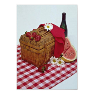 Picnic basket and watermelon slices card