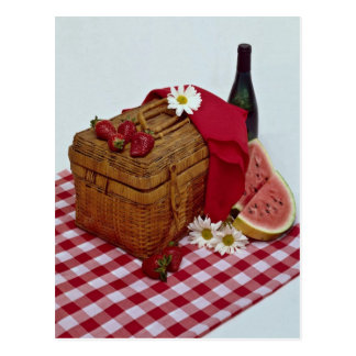 Picnic basket and watermelon slices postcard