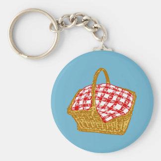 Picnic Basket Basic Round Button Key Ring