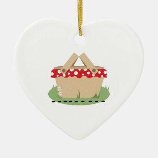 Picnic Basket Ceramic Heart Decoration