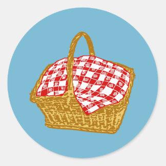 Picnic Basket Classic Round Sticker