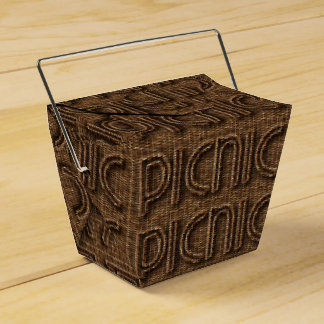 Picnic Basket Funny Wicker Typography Brown Party Favour Boxes