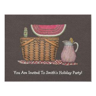 Picnic Basket & Watermelon 11 Cm X 14 Cm Invitation Card
