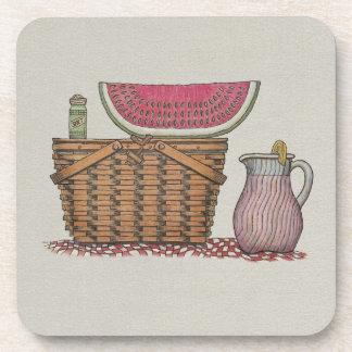 Picnic Basket Watermelon Beverage Coaster