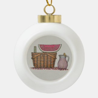 Picnic Basket & Watermelon Ceramic Ball Decoration
