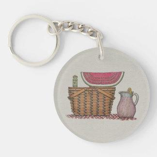 Picnic Basket & Watermelon Double-Sided Round Acrylic Key Ring