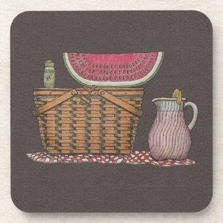 Picnic Basket Watermelon Drink Coaster