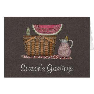 Picnic Basket & Watermelon Greeting Card